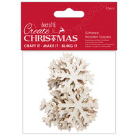 Glittered Gold Snowflake Wooden Toppers: Pack of 12