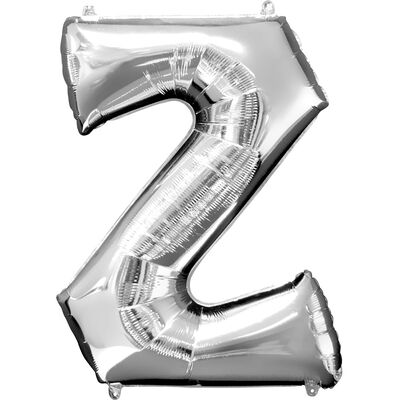34 Inch Silver Letter Z Helium Balloon image number 1