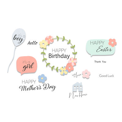 Celebration Phrases Cutting Die and Stamp Set image number 2