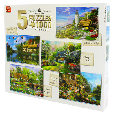 Cottage Themed 5-in-1 1000 Piece Jigsaw Puzzle Set image number 3