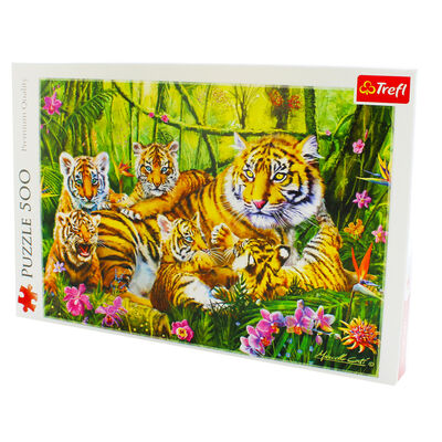 Family of Tigers 500 Piece Jigsaw Puzzle image number 3