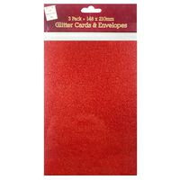 A5 Red and Gold Glitter Cards and Envelopes: Pack of 3