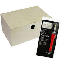 Pyrography Tool and Extra Large Rectangle Wooden Box: 35 x 25 x 17cm Bundle