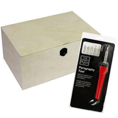 Pyrography Tool and Extra Large Rectangle Wooden Box: 35 x 25 x 17cm Bundle image number 1