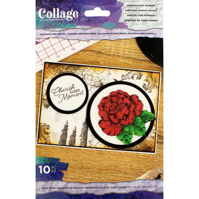 Crafter's Companion Collage Photopolymer Stamp - Cherish Every Moment image number 1