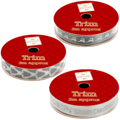 Christmas Ribbon Trim: Assorted 3m image number 5