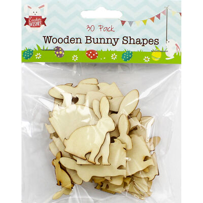 Wooden Bunny Shapes - 30 Pack image number 1
