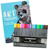 Art Therapy Colouring Book & Scribblicious Coloured Pens Bundle