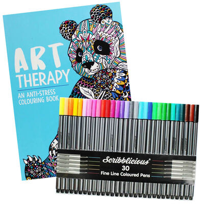 Art Therapy Colouring Book & Scribblicious Coloured Pens Bundle image number 1