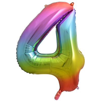 34 Inch Rainbow Number 4 Helium Balloon image number 1