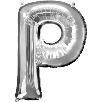 34 Inch Silver Letter P Helium Balloon image number 1