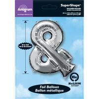 34 Inch Silver Ampersand Symbol Helium Balloon