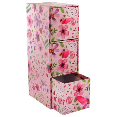 Pink Floral 3 Drawer Desk Organiser image number 2