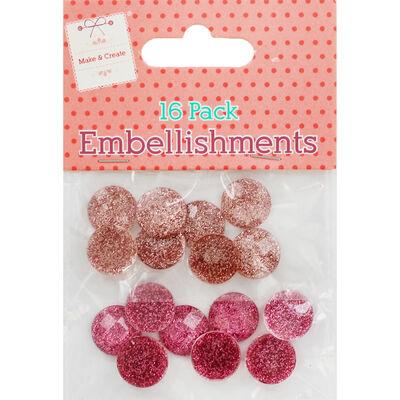 Pink Rose Gold Dome Embellishments - 16 Pack image number 1