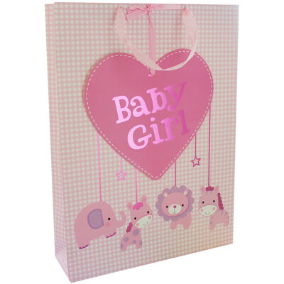 Pink Baby Girl Heart Tag Gift Bag image number 1