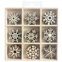 Wooden Snowflake Embellishments Box: Set of 45