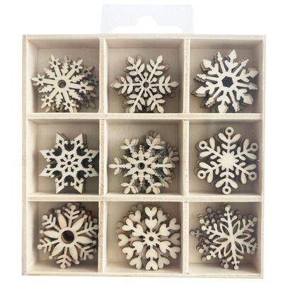 Wooden Snowflake Embellishments Box: Set of 45