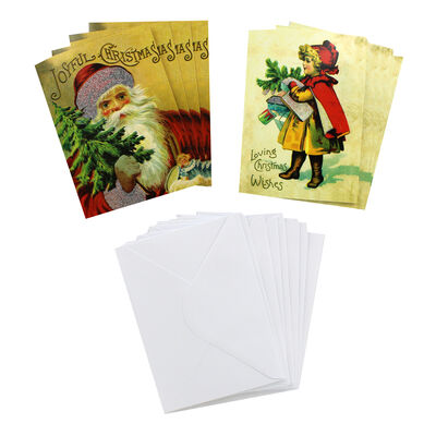8 Vintage Christmas Cards in Tin - Young Girl image number 2