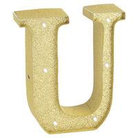 Gold Glitter Light Up Letter U