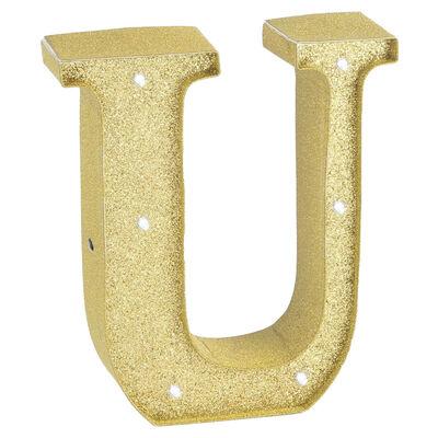 Gold Glitter Light Up Letter U image number 1