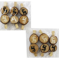 Wooden Christmas Pegs - 12 Pack