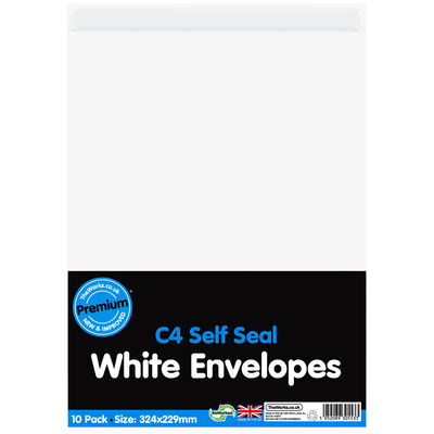 C4 White Self Seal Envelopes: Pack of 10 image number 1