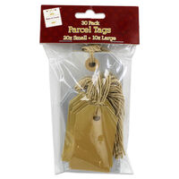 Silver and Gold Parcel Tags: Pack of 30