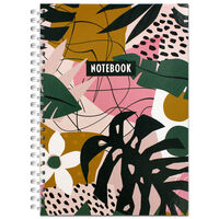 A4 Wiro Tropical Leaves Notebook