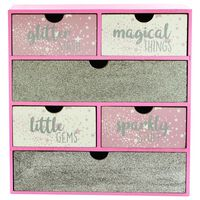 Pink Glitter Wooden 6 Drawer Storage Set