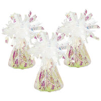 Iridescent Tinsel Balloon Weights: Pack of 3