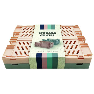 Grey and Pink Foldable Storage Crates: Pack of 2 image number 3