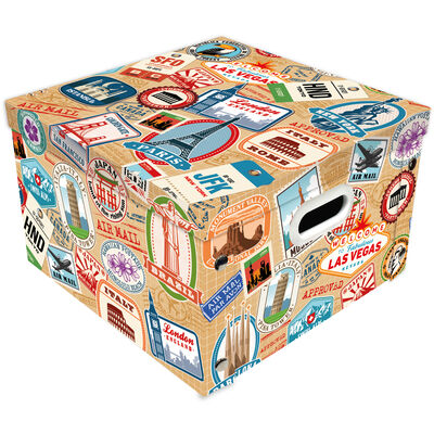 Travel Themed Collapsible Storage Box image number 1