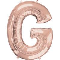 34 Inch Light Rose Gold Letter G Helium Balloon