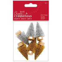 Gold & Silver Mini Trees: Pack of 6