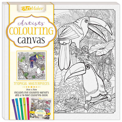 Colouring Canvas: Tropical Masterpieces Book & Marker Set image number 1