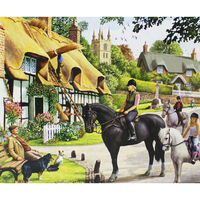 Horse Riders in Village 1000 Piece Jigsaw Puzzle