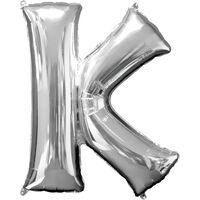 34 Inch Silver Letter K Helium Balloon