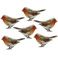 Wooden Robbin Toppers Pack of 6