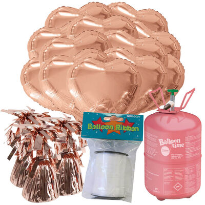 18 Inch Rose Gold Helium Heart Balloon Bundle image number 1