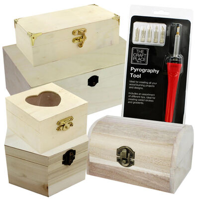Ultimate Pyrography Tool and Assorted Wooden Box Bundle image number 1