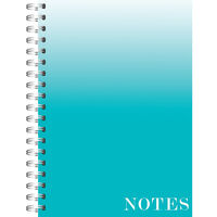A4 Wiro Ombre Mint Lined Notebook