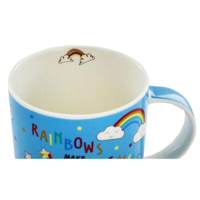 Disney Minnie Mouse Blue Rainbow Ceramic Mug image number 3