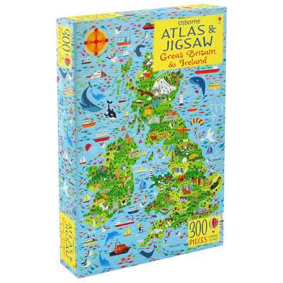 Usborne Great Britain and Ireland Atlas and 300 Piece Jigsaw image number 1