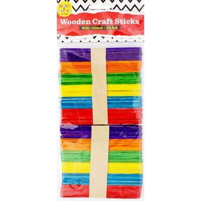 Multi-Coloured Wooden Craft Sticks: Pack of 100 image number 1