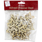 Wooden Hanging Advent Number Stars: Pack of 24 image number 1