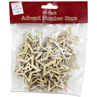 Wooden Hanging Advent Number Stars: Pack of 24