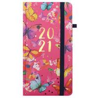 Pink Floral 2021 Slim Week to View Pocket Diary