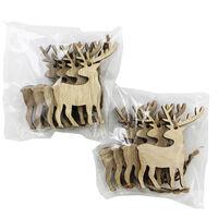 Wooden Hanging Reindeer Decorations - 8 Pack