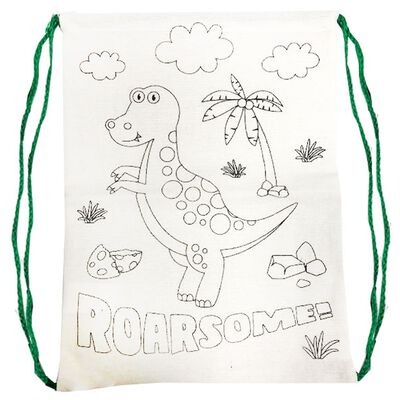 Colour Your Own Dinosaur Drawstring Bag image number 2