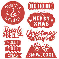 Modern Christmas Sentiments Metal Die Set